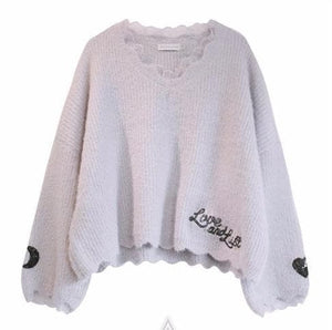 S/M 4 Colors Moon and Heart Embroidery Sweater SP178737