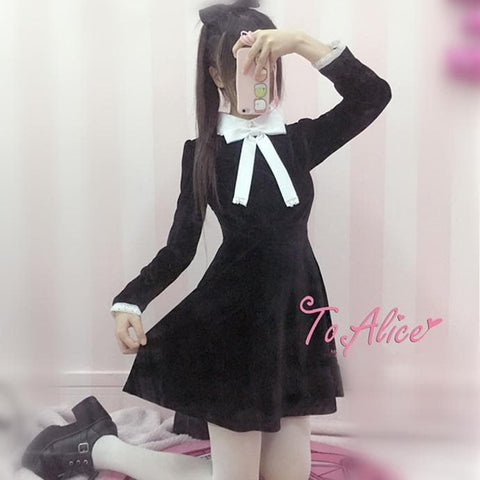 S/M Black Velvet Lolita Dress SP178679