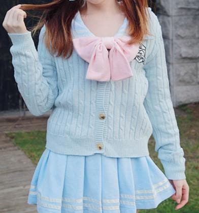S/M Blue/White School Uniform Cardigan Jacket SP153646 - SpreePicky  - 4