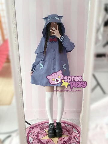 S/M Blue/Yellow Kawaii Two Pieces Set Uniform Hoodie Cape With Poncho SP168371