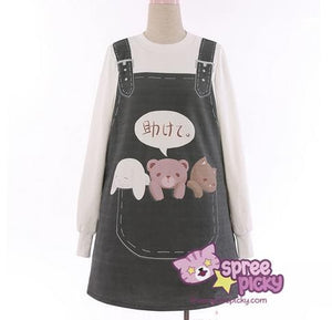 S/M Dark Grey/Pink/Light Blue Kawaii Animal Printing Jumper Dress SP168387
