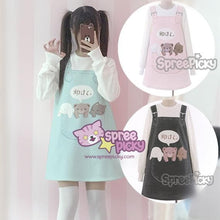Load image into Gallery viewer, S/M Dark Grey/Pink/Light Blue Kawaii Animal Printing Jumper Dress SP168387