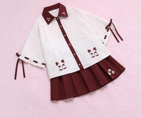 S/M Harajuku Fortune Cat Blouse SP165102