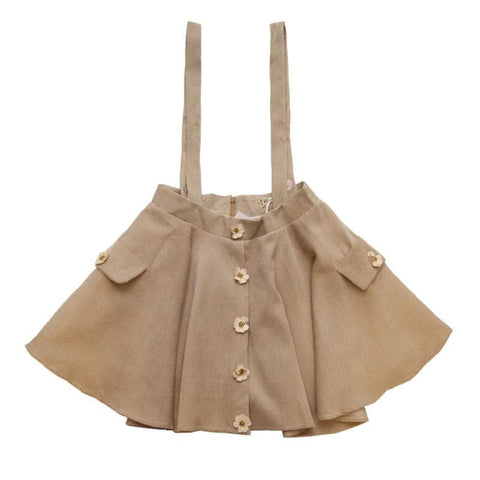 S/M Khaki Retro Flower Corduroy Suspender Skirt SP168395