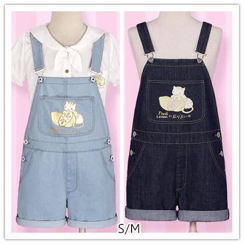 S/M Light Blue/Dark Blue I wanna be the Lemonate Cat Jumper Jeans SP152709 - SpreePicky  - 1
