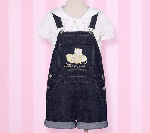 S/M Light Blue/Dark Blue I wanna be the Lemonate Cat Jumper Jeans SP152709 - SpreePicky  - 2