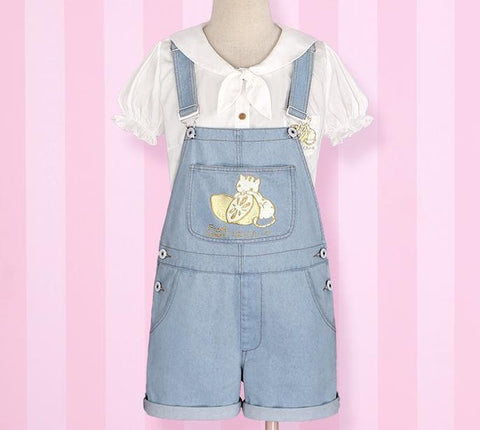 S/M Light Blue/Dark Blue I wanna be the Lemonate Cat Jumper Jeans SP152709 - SpreePicky  - 5