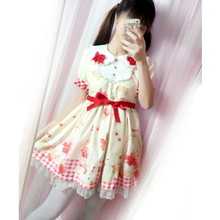 Load image into Gallery viewer, S/M Light Yellow/Brown/Pink Kawaii Bunny Grid Dress SP166989