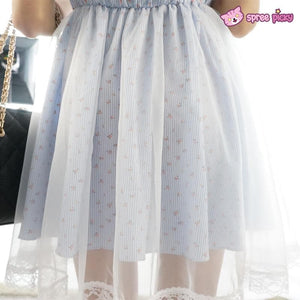 M/L Pastel Dreaming Blue Floral Sweet Shoulder Off Dress SP152029 - SpreePicky  - 7
