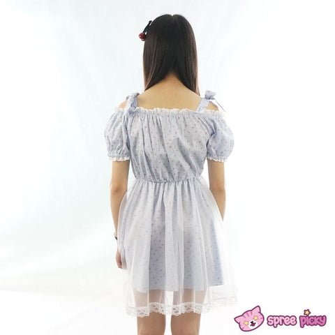 M/L Pastel Dreaming Blue Floral Sweet Shoulder Off Dress SP152029 - SpreePicky  - 3