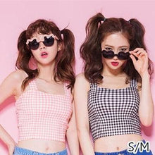 Load image into Gallery viewer, S/M Pink/Black Bestie Gingham Bustier Top SP152527 - SpreePicky  - 2
