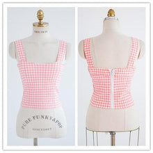 Load image into Gallery viewer, S/M Pink/Black Bestie Gingham Bustier Top SP152527 - SpreePicky  - 4