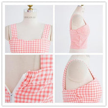 Load image into Gallery viewer, S/M Pink/Black Bestie Gingham Bustier Top SP152527 - SpreePicky  - 5