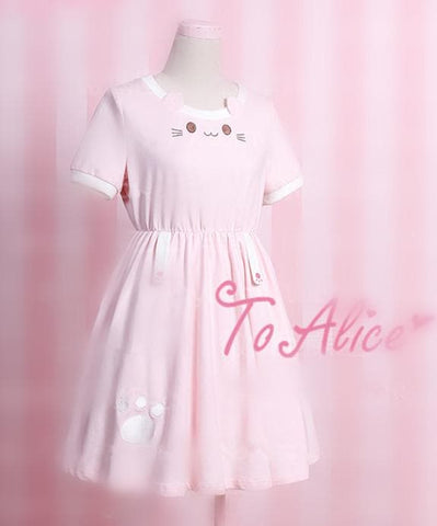 S/M Pink Kawaii Neko Cat Dress SP167111