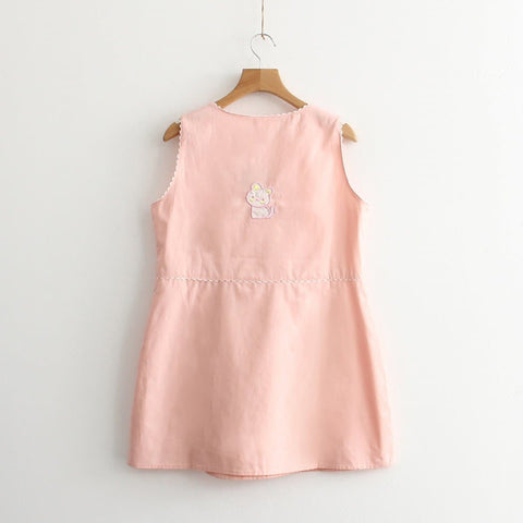 S/M Pink Sweet Style Neko Cat Embroidery Dress SP166189