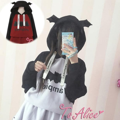 S/M Purple/Red Chibi Vampire Loose Hoodie Jumper SP178676