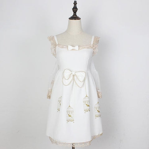 S/M White/Black Lolita Lady Lace Suspender Dress with Bowknot SP165862
