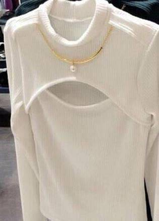 S/M White/Black Keyhole Open Chest Sweater SP165876