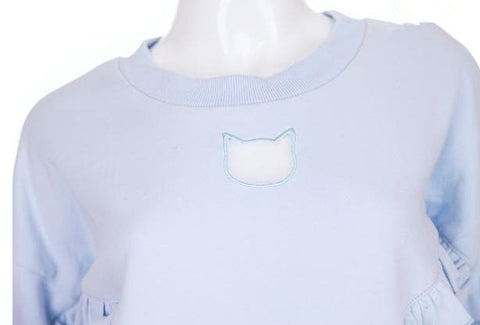 S/M White/Blue Cat Keyhole Falbala Jumper SP166509
