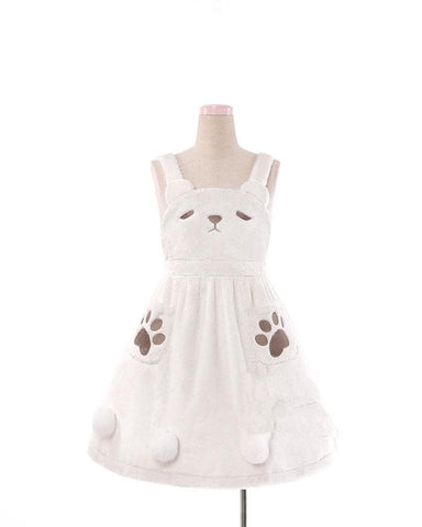 S/M White Kawaii Fluffy Bear Suspender Dress SP178674