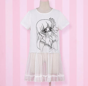 Over Sized Kabe-don Tee Shirt SP152511 - SpreePicky  - 2