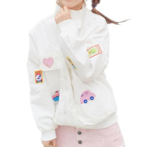 S/M White Sweet Daily Baseball Coat SP168107