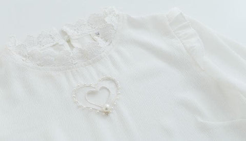 S/M Double Heart Cut Out White Blouse SP165873