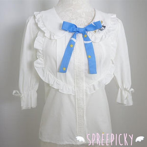 Sailor Moon Blouse Embroidery Printing Top With Bow SP140940 - SpreePicky  - 2