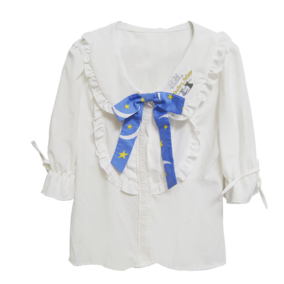 Sailor Moon Blouse Embroidery Printing Top With Bow SP140940 - SpreePicky  - 1