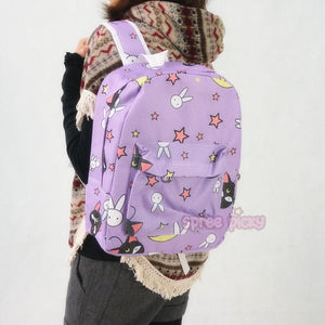 Sailor Moon Usagi Bunny Pattern Elements Purple Backpack SP164974