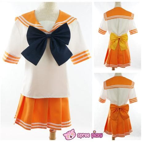 Daily Cosplay [Sailor Moon] Sailor Venus Aino Minako Orange Seifuku Top/Skirt/Bow SP151737/SP151738/SP151734 - SpreePicky  - 2