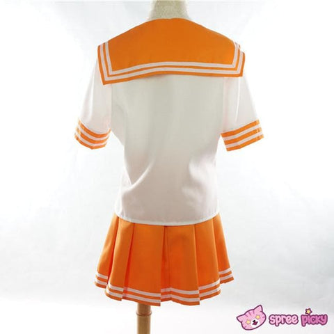 Daily Cosplay [Sailor Moon] Sailor Venus Aino Minako Orange Seifuku Top/Skirt/Bow SP151737/SP151738/SP151734 - SpreePicky  - 3