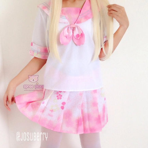 S-XL Pink Sakura Cherry Blossom Sailor Seifuku Set SP151635