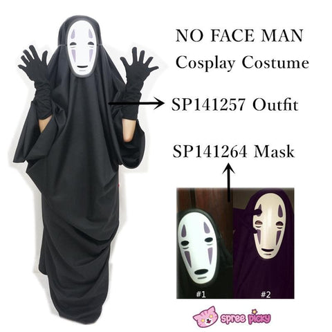 Sen and Chihiro's Spiriting Away NO FACE MAN Cosplay Costume Outfit SP141257 |Mask SP141264