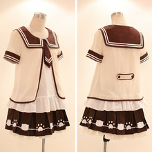 Load image into Gallery viewer, [Set]Kawaii Sailor Blouse With Tie + Bear Foot Print Pleated Skirt SP140995