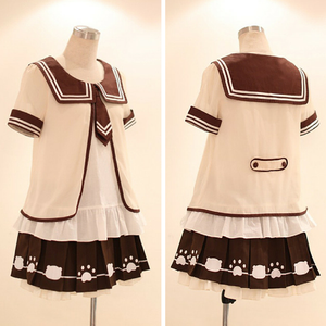 [Set]Kawaii Sailor Blouse With Tie + Bear Foot Print Pleated Skirt SP140995