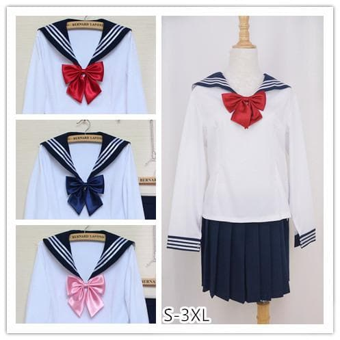 [Set]Sailor Seifuku School Uniform Long Sleeve 2 pieces set SP141062 - SpreePicky  - 1