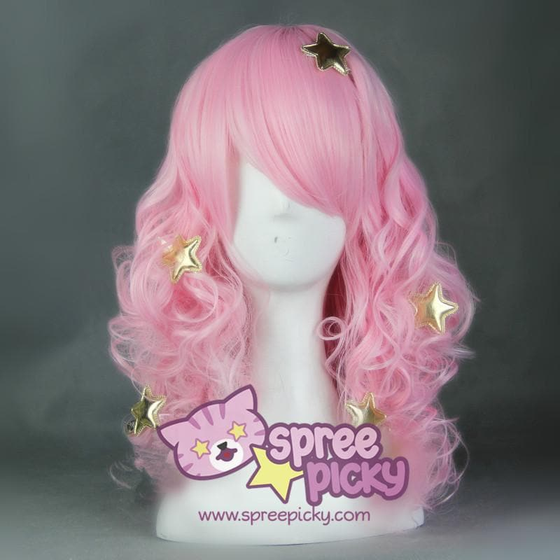 Show By Rock Pink Long Curly Cosplay Wig SP165769