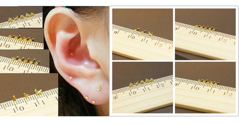 Silver/Golden Mini Star/Moon/Heart Ear Stud SP164868 - SpreePicky  - 2