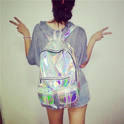 Silver Hologram Laser  Fashion Backpack SP166993