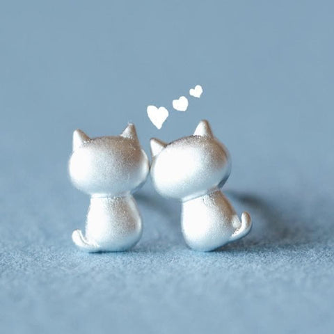 Silver Kawaii Kitty Earrings SP179085