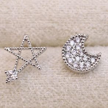 Load image into Gallery viewer, Silver Moon and Star Earrings One Pair SP152036 - SpreePicky  - 3