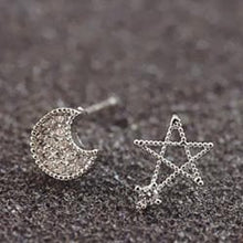 Load image into Gallery viewer, Silver Moon and Star Earrings One Pair SP152036 - SpreePicky  - 4