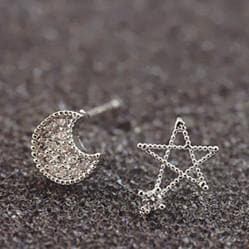 Silver Moon and Star Earrings One Pair SP152036 - SpreePicky  - 4