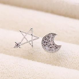 Silver Moon and Star Earrings One Pair SP152036 - SpreePicky  - 5
