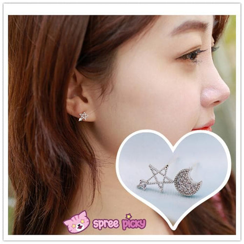 Silver Moon and Star Earrings One Pair SP152036 - SpreePicky  - 1
