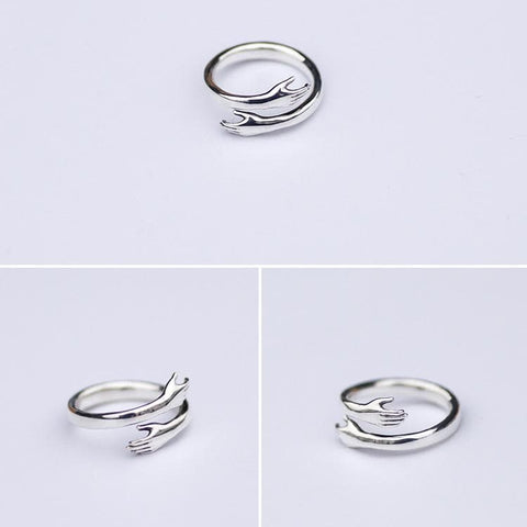 Forever Hug Sliver Couple Ring SP178861