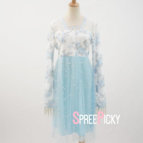 Soft Blue flower Beaded Dress with Flare Sleeves SP179073
