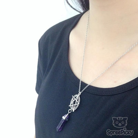 Pentagram Crystal Stone Pillars Necklace SP167681