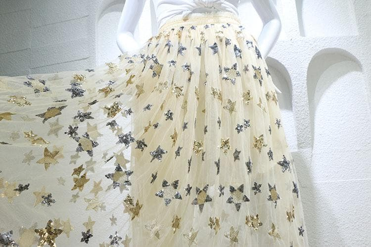 652e6ad404 ... Load image into Gallery viewer, Starry Night Midi Tulle Skirt SP1710259